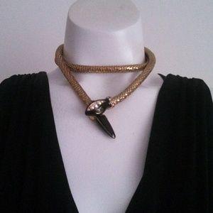 vintage Snake Necklace or Belt rhinestone enamel